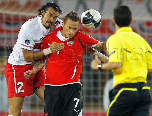 06 09 2011 Vienna, Austria. Football UEFA European Championship 2012 Qualification  Austria vs TURKEY Picture shows Servet Cetin  and Marko Arnautovic AUT