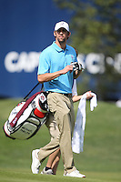 Olympic gold medalist Michael Phelps on the 1st  during the Captain/Celebrity scramble exhibition at the Ryder Cup 2012, Medinah Country Club,Medinah, Illinois,USA.Picture: Fran Caffrey/www.Golffile.ie.