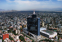 aerial photograph of the World Trade Center tower also known by its old name, Hotel de Mexico, Mexico City, Mexico.