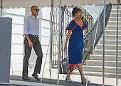 United States President Barack Obama and first lady Michelle Obama depart the White House in Washington, DC on Saturday, August 6, 2016 to travel to Martha's Vineyard, Massachusetts for their annual two week vacation.  <br /> Credit: Ron Sachs / Pool via CNP