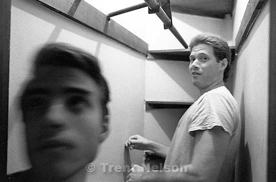 Bob Walter and Paul Doerr at Paul Doerr's apartment.<br />