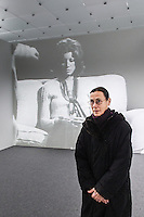 "Yvonne Rainer stands in front of the installation of her "" Space, Body, Language"" exhibition at the Kunsthaus in Bregenz. Rainer is an American dancer, choreographer and filmmaker, whose work in these disciplines is frequently challenging and experimental. Her work is classified as minimalist art. ©Miro Kuzmanovic"