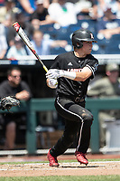 Louisville Cardinals outfielder Jake Snider (20) follows through on his swing during Game 3 of the NCAA College World Series against the Vanderbilt Commodores on June 16, 2019 at TD Ameritrade Park in Omaha, Nebraska. Vanderbilt defeated Louisville 3-1. (Andrew Woolley/Four Seam Images)