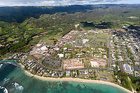 A helicopter tour offers an aerial view of La'ie, northern O'ahu.