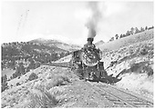 Front view of K-37 #490 hauling stock cars possibly on the west side of Marshall Pass.<br /> D&amp;RGW  Marshall Pass ?, CO