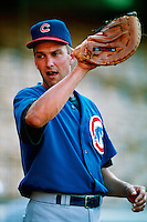 Mark Grace of the Chicago Cubs during a game at Dodger Stadium in Los Angeles, California during the 1997 season.(Larry Goren/Four Seam Images)