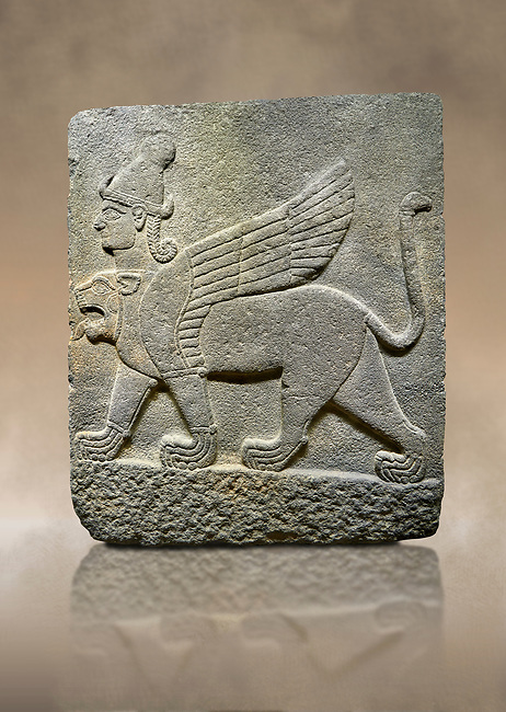 Hittite relief sculpted orthostat stone panel of Herald's Wall Basalt, Karkamıs, (Kargamıs), Carchemish (Karkemish), 900-700 B.C. Chimera. Anatolian Civilisations Museum, Ankara, Turkey.<br /> <br /> Three-headed sphinxes. Winged lion, with a bird of prey's head on the end of its tail, also has a human head with hair in plaits and a conical headdress. The details in his feet are very distinct.  <br /> <br /> Against a brown art background.