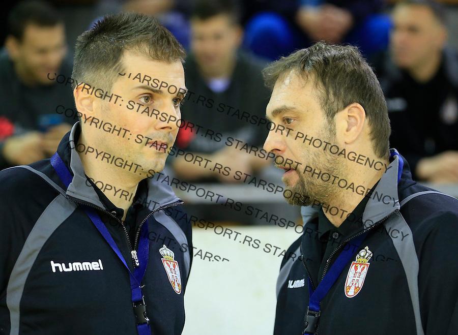 Rukomet-Handball<br /> Srbija v Rumunija-Prijateljski mec friendly match<br /> Head coach Dejan Peric (R) and Dalibor Cutura<br /> Beograd, 28.12.2015.<br /> foto: Srdjan Stevanovic/Starsportphoto&copy;