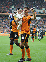 Wolverhampton Wanderers' Ruben Neves celebrates  at the final whistle <br /> <br /> Photographer Ashley Crowden/CameraSport<br /> <br /> The EFL Sky Bet Championship - Wolverhampton Wanderers v Birmingham City - Sunday 15th April 2018 - Molineux - Wolverhampton<br /> <br /> World Copyright &copy; 2018 CameraSport. All rights reserved. 43 Linden Ave. Countesthorpe. Leicester. England. LE8 5PG - Tel: +44 (0) 116 277 4147 - admin@camerasport.com - www.camerasport.com