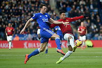 Manchester United's Jesse Lingard battles with  Leicester City's Jonny Evans<br /> <br /> Photographer Hannah Fountain/CameraSport<br /> <br /> The Premier League - Leicester City v Manchester United - Sunday 3rd February 2019 - King Power Stadium - Leicester<br /> <br /> World Copyright © 2019 CameraSport. All rights reserved. 43 Linden Ave. Countesthorpe. Leicester. England. LE8 5PG - Tel: +44 (0) 116 277 4147 - admin@camerasport.com - www.camerasport.com