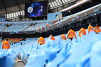 Stewards inspect the seats ahead of kick-off at The Etihad stadium<br /> <br /> Photographer Rich Linley/CameraSport<br /> <br /> UEFA Champions League - Quarter-finals 2nd Leg - Manchester City v Tottenham Hotspur - Wednesday April 17th 2019 - The Etihad - Manchester<br />  <br /> World Copyright © 2018 CameraSport. All rights reserved. 43 Linden Ave. Countesthorpe. Leicester. England. LE8 5PG - Tel: +44 (0) 116 277 4147 - admin@camerasport.com - www.camerasport.com