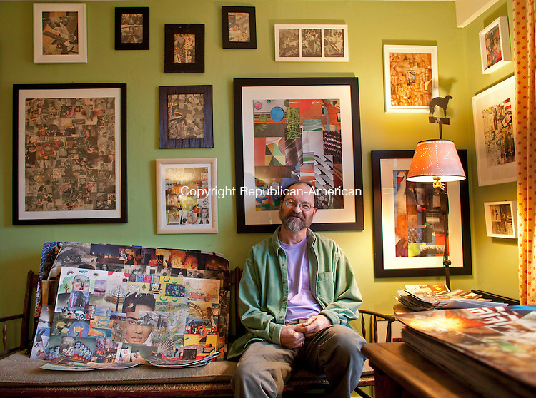 ROXBURY, CT-12 March 2013- 031213BF01-Collage artist Peter Wooster sits among his artwork at his home in Roxbury. An accomplished interior designer and architect, Wooster suffered a stroke in 2006 and has since taken to creating collages as a creative expression.  His work will be displayed at Good News Cafe & Gallery in Woodbury April 7 thru June 4, 2013. Bob Falcetti Republican-American