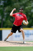 "Atlanta Braves pitcher Chad Sobotka, drafted out of USC Upstate, pitches in a ""Sandlot""-style game to other pro and amateur players from the region on Thursday, June 25, 2020, at Fluor Field at the West End in Greenville, South Carolina, as team workouts remain shut down. (Tom Priddy/Four Seam Images)"