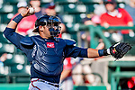 25 February 2019: Atlanta Braves catcher Alex Jackson in action during a pre-season Spring Training game against the Washington Nationals at Champion Stadium in the ESPN Wide World of Sports Complex in Kissimmee, Florida. The Braves defeated the Nationals 9-4 in Grapefruit League play in what will be their last season at the Disney / ESPN Wide World of Sports complex. Mandatory Credit: Ed Wolfstein Photo *** RAW (NEF) Image File Available ***