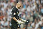 FC Barcelona's Victor Valdes celebrates goal during La Liga match.May 2 2009. (ALTERPHOTOS/Acero).