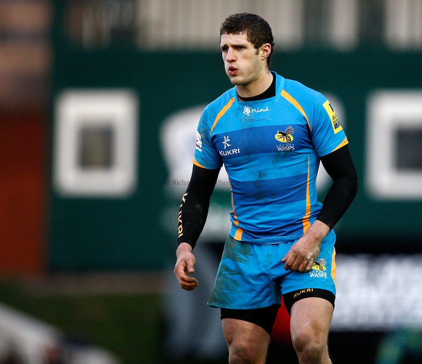 Photo: Richard Lane/Richard Lane Photography. Leicester Tigers v London Wasps. LV= Cup. 26/01/2013. Wasps' Jonah Holmes.