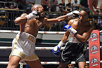 Jordan Dujon (white shorts) defeats Victor Edagha during a Boxing Show at York Hall on 29th June 2019