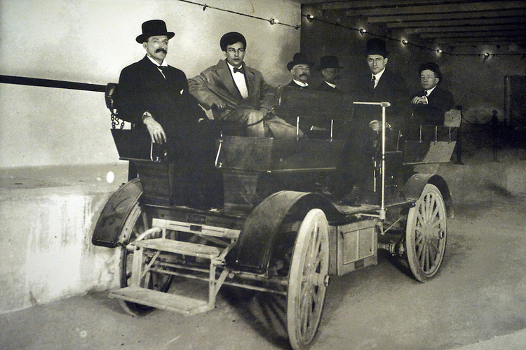 A studebaker car was used as an early Russell Senate Office Building subway car. circa 1909