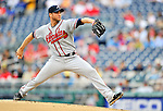 24 September 2011: Atlanta Braves pitcher Brandon Beachy on the mound against the Washington Nationals at Nationals Park in Washington, DC. The Nationals defeated the Braves 4-1 to even up their 3-game series. Mandatory Credit: Ed Wolfstein Photo