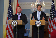 February 8, 2013  (Washington, DC)  Secretary of State John Kerry (r) and Canadian Foreign Minister John Baird during a press availability following a bilateral meeting at the State Department in Washington.  (Photo by Don Baxter/Media Images International)