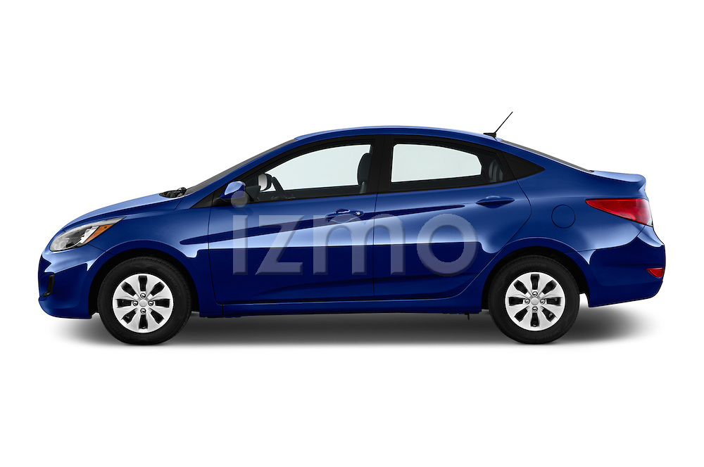 Car Driver side profile view of a 2017 Hyundai Accent SE 4-Door 6-Speed Automatic 4 Door Sedan Side View