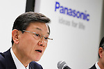 October 31, 2011, Tokyo, Japan - President Fumio Otsubo of Japans Panasonic Corporation announces an outline of the new group organizational structure to be implemented in January 2012 during a news conference at its head office in Tokyo on Monday, October 31, 2011..The electronics giant posted a fiscal second-quarter loss due to restructuring costs in its unprofitable television and semiconductor business. The company forecast a net loss of 420 billion yen ($5.54 billion) for the fiscal year ending March 2012 and revenue of 8.3 trillion yen. Panasonic is scrambling to turn around its television business amid fierce cost competition and pressure from the strong yen. The company said it would stop production at two of its Japanese TV panel factories - one making plasma display panels and the other LCD panels - this fiscal year. (Photo by AFLO) [3609]