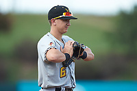 West Virginia Power third baseman Robbie Glendinning (6) on defense against the Kannapolis Intimidators at Kannapolis Intimidators Stadium on July 25, 2018 in Kannapolis, North Carolina. The Intimidators defeated the Power 6-2 in 8 innings in game one of a double-header. (Brian Westerholt/Four Seam Images)