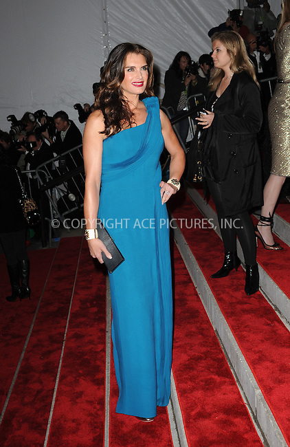 WWW.ACEPIXS.COM . . . . . ....May 4 2009, New York City....Brooke Shields arriving at 'The Model as Muse: Embodying Fashion' Costume Institute Gala at The Metropolitan Museum of Art on May 4, 2009 in New York City.....Please byline: KRISTIN CALLAHAN - ACEPIXS.COM.. . . . . . ..Ace Pictures, Inc:  ..tel: (212) 243 8787 or (646) 769 0430..e-mail: info@acepixs.com..web: http://www.acepixs.com