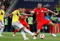 MOSCU - RUSIA, 03-07-2018: Radamel FALCAO GARCIA (Izq) jugador de Colombia disputa el balón con Eric DIER (Der) jugador de Inglaterra durante partido de octavos de final por la Copa Mundial de la FIFA Rusia 2018 jugado en el estadio del Spartak en Moscú, Rusia. / Radamel FALCAO GARCIA (L) player of Colombia fights the ball with Eric DIER (R) player of England during match of the round of 16 for the FIFA World Cup Russia 2018 played at Spartak stadium in Moscow, Russia. Photo: VizzorImage / Julian Medina / Cont