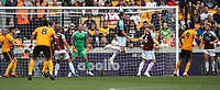 Burnley's Sam Vokes defends goal<br /> <br /> Photographer Rachel Holborn/CameraSport<br /> <br /> The Premier League - Wolverhampton Wanderers v Burnley - Sunday 16th September 2018 - Molineux - Wolverhampton<br /> <br /> World Copyright &copy; 2018 CameraSport. All rights reserved. 43 Linden Ave. Countesthorpe. Leicester. England. LE8 5PG - Tel: +44 (0) 116 277 4147 - admin@camerasport.com - www.camerasport.com