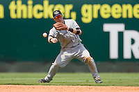Shortstop Chris Valaika #10 of the Louisville Bats makes a throw to second base against the Charlotte Knights at Knights Stadium July 20, 2010, in Fort Mill, South Carolina.  Photo by Brian Westerholt / Four Seam Images