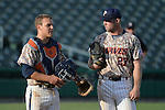 May 23, 2014; Stockton, CA, USA; Pepperdine Waves catcher Aaron Barnett (33, left) and outfielder Aaron Brown (27) during the WCC Baseball Championship at Banner Island Ballpark.