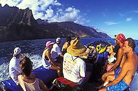 EDITORIAL ONLY. Zodiac ride along the Na Pali coast to Kalalau Valley, north shore, Kauai