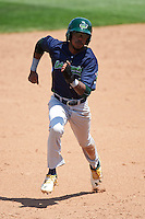 Vermont Lake Monsters center fielder James Terrell (1) running the bases during a game against the Auburn Doubledays on July 13, 2016 at Falcon Park in Auburn, New York.  Auburn defeated Vermont 8-4.  (Mike Janes/Four Seam Images)