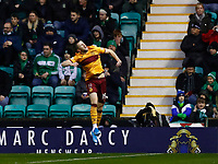 23rd November 2019; Easter Road, Edinburgh, Scotland; Scottish Premiership Football, Hibernian versus Motherwell; Liam Polworth of Motherwell celebrates the opening goal to make it 1-0 for Motherwell in the 9th minute - Editorial Use