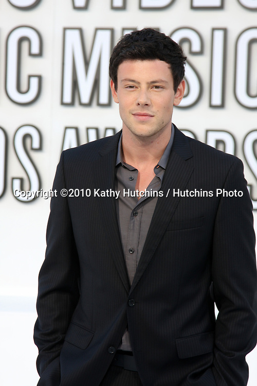 LOS ANGELES - SEP 12:  Cory Monteith arrives at the 2010 MTV Video Music Awards  at Nokia LA Live on September 12, 2010 in Los Angeles, CA.