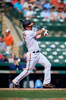 Baltimore Orioles designated hitter Trey Mancini (16) follows through on a swing during a Grapefruit League Spring Training game against the Tampa Bay Rays on March 1, 2019 at Ed Smith Stadium in Sarasota, Florida.  Rays defeated the Orioles 10-5.  (Mike Janes/Four Seam Images)