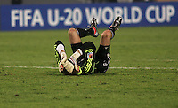 Hungary's  Peter Gulacsi (1) after the final second of the game passes and Hungary loses to Ghana during the FIFA Under 20 World Cup Semi-final match at the Cairo International Stadium in Cairo, Egypt, on October 13, 2009. Costa Rica won the match 1-2 in overtime play. Ghana won the match 3-2.