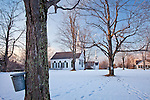 18th century churches and maple sap buckets on the Town Common in New Salem, MA, USA