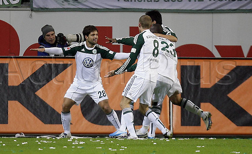 16 10 2010  Diego cheering After his goal for  1 0 right Thomas Kahlenberg  VfL Wolfsburg Bayer 04 Leverkusen Wolfsburg