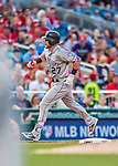 29 July 2017: Colorado Rockies infielder Trevor Story rounds the bases after hitting a 2-run homer to right in the second inning against the Washington Nationals at Nationals Park in Washington, DC. The Rockies defeated the Nationals 4-2 in the first game of their 3-game weekend series. Mandatory Credit: Ed Wolfstein Photo *** RAW (NEF) Image File Available ***