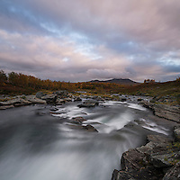 Flowing river outside of Syter hut, Kungsleden trail, Lapland, Sweden