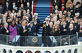 Beyonce sings the National Anthem after President Barack Obama was sworn-in for a second term as the President of the United States by Supreme Court Chief Justice John Roberts during his public inauguration ceremony at the U.S. Capitol Building in Washington, D.C. on January 21, 2013.     .Credit: Pat Benic / Pool via CNP
