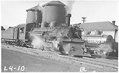 3/4 view of K-28 #470 with plow at twin water tanks at Salida.<br /> D&amp;RGW  Salida, CO  Taken by Rogers, Donald E. A. - 7/4/1935