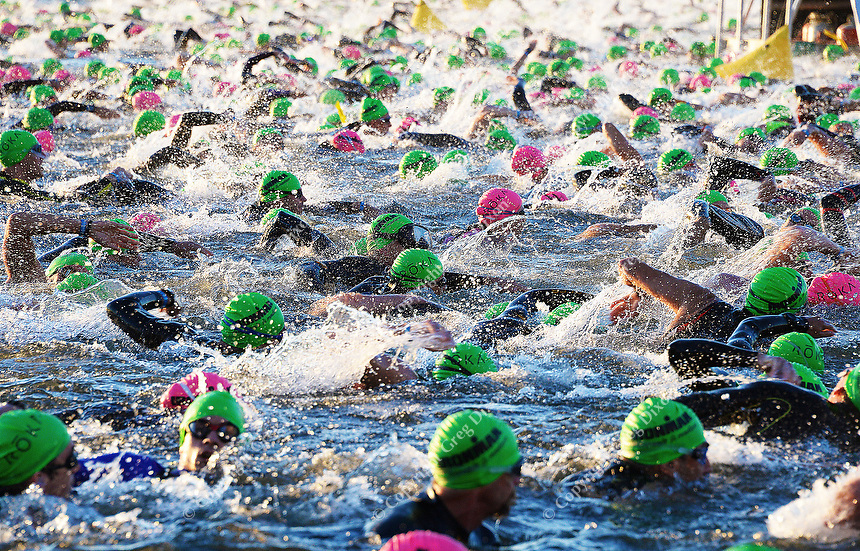 Swimmers begin the 2015 Ironman competition in Lake Monona on Sunday, September 13, 2015 in Madison, Wisconsin