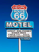 Route 66 Motel sign on old Route 66 in Kingman, Arizona.