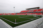 27 April 2007: A view diagonally across the field from the northeast corner.  BMO Field in Toronto, Ontario, Canada on the day before it was scheduled open with the inaugural home match of Major League Soccer expansion team Toronto FC.