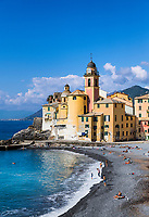 Santa Maria Assunta basilica and Camogli waterfront.