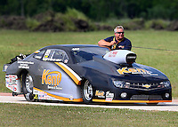 Apr 26, 2014; Baytown, TX, USA; NHRA pro stock driver Steve Kent during qualifying for the Spring Nationals at Royal Purple Raceway. Mandatory Credit: Mark J. Rebilas-
