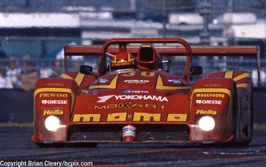 The Ferarri 333SP of  Gianpiero Moretti, Arie Luyendyk, Mauro Baldi, and Didier Theys races to victory in the 24 Hours of Daytona, Daytona International Speedway, Daytona Beach, FL, February 1, 1998.  (Photo by Brian Cleary/www.bcpix.com)